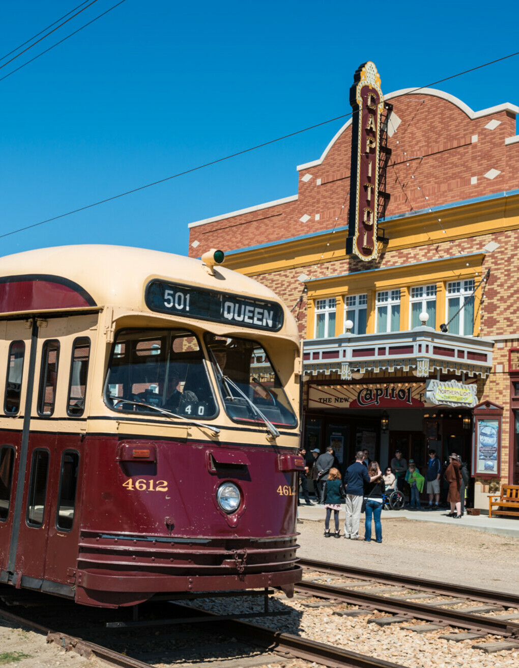 Streetcar passing by the Capitol Theatre on 1905 Street